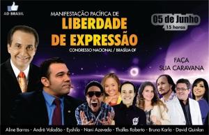 """Malafaia no alto, absoluto; Marco Feliciano logo abaixo, e os artistas gospel em imagem menor e no """"rodapé"""": seria uma mensagem subliminar?"""