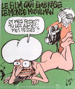 Charge ofensa aos muçulmanos, retratando o profeta Maomé de forma violenta