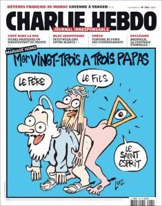"""Charge ofensiva aos cristãos (desculpem-me por postar essa imagem, mas é necessária para entendermos a """"linha editorial"""" da revista Charlie Hebdo."""