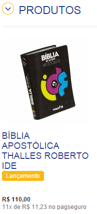 Não basta ser bíblia. Tem que ser do Thalles, e ser apostólica.